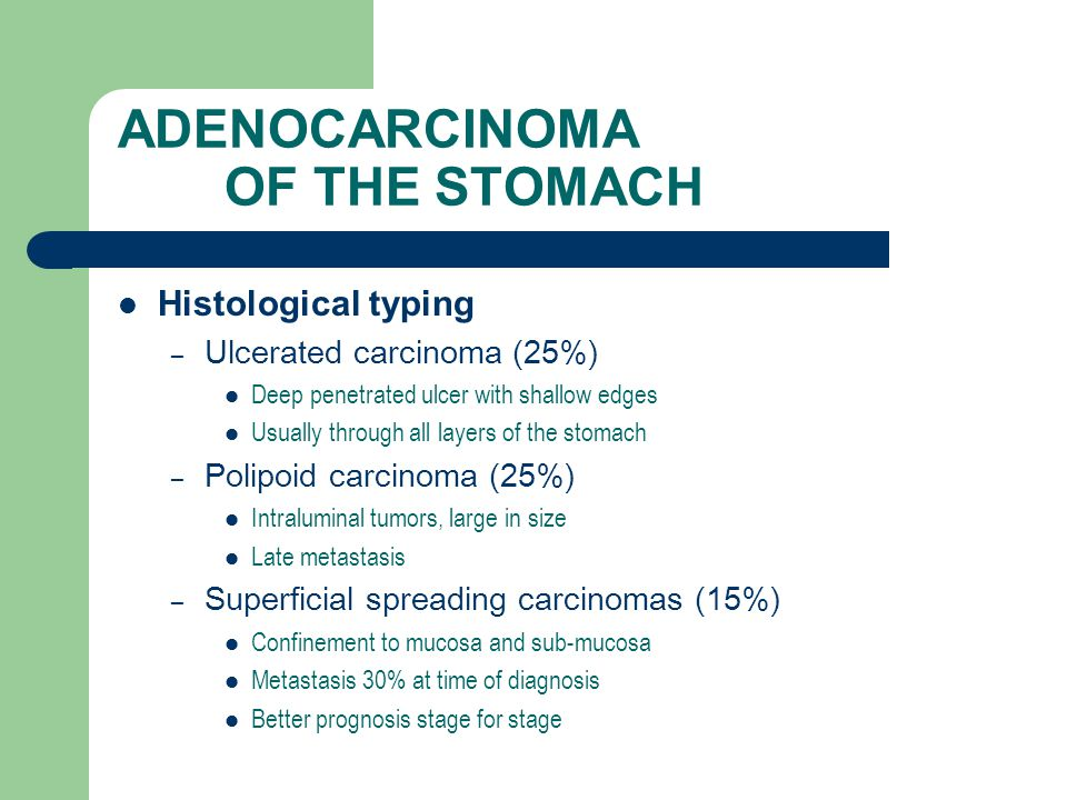 ADENOCARCINOMA OF THE STOMACH Histological typing – Ulcerated carcinoma (25%) Deep penetrated ulcer with shallow edges Usually through all layers of the stomach – Polipoid carcinoma (25%) Intraluminal tumors, large in size Late metastasis – Superficial spreading carcinomas (15%) Confinement to mucosa and sub-mucosa Metastasis 30% at time of diagnosis Better prognosis stage for stage