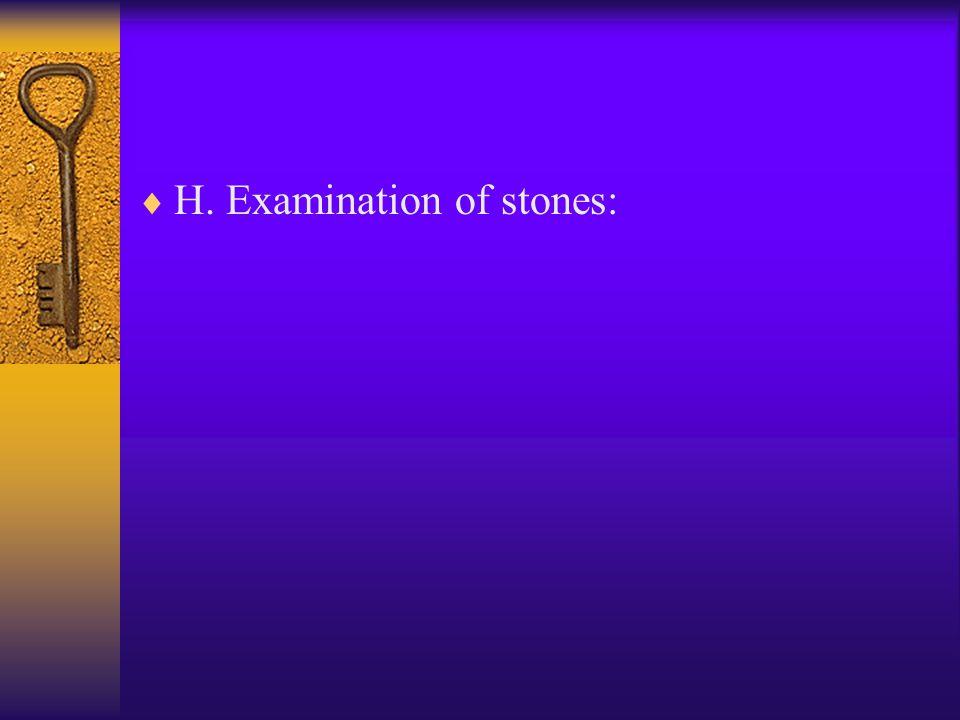  H. Examination of stones: