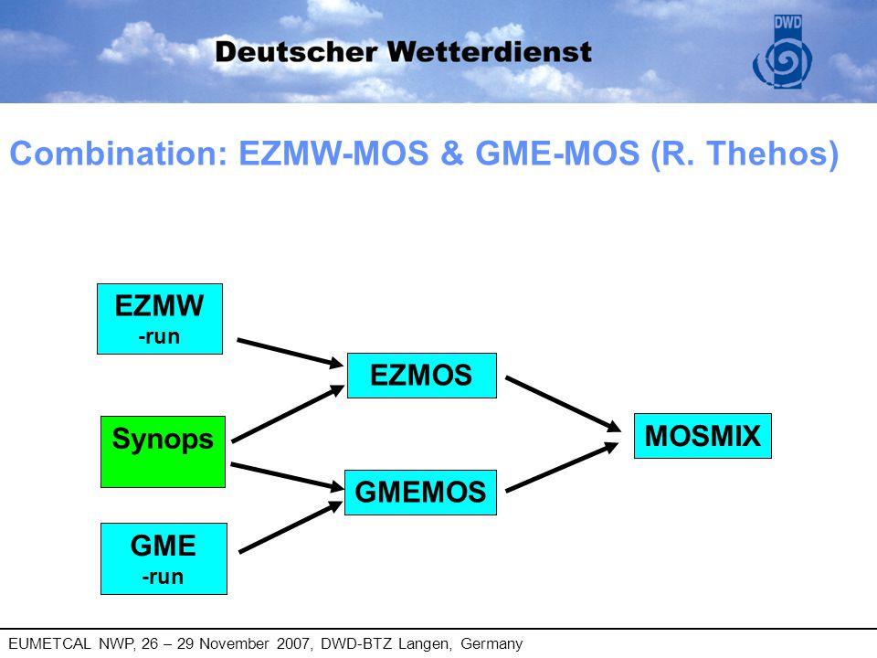 EUMETCAL NWP, 26 – 29 November 2007, DWD-BTZ Langen, Germany Combination: EZMW-MOS & GME-MOS (R.