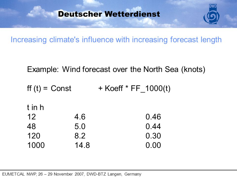 EUMETCAL NWP, 26 – 29 November 2007, DWD-BTZ Langen, Germany Increasing climate's influence with increasing forecast length Example: Wind forecast ove