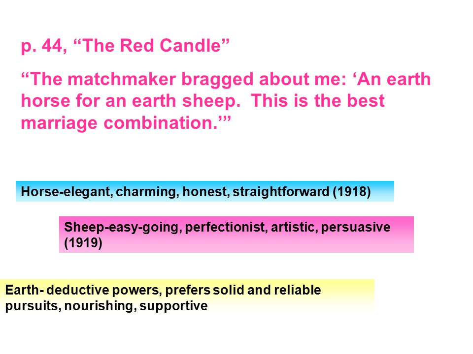 p.44, The Red Candle The matchmaker bragged about me: 'An earth horse for an earth sheep.