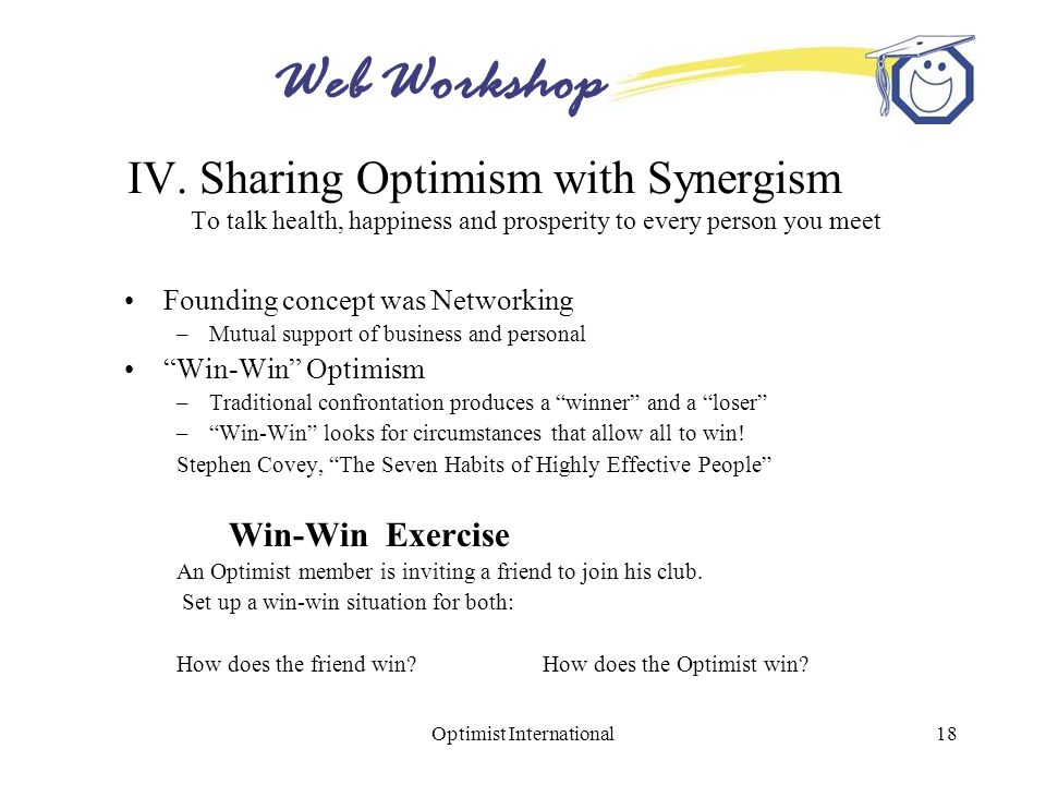 Web Workshop Optimist International18 IV. Sharing Optimism with Synergism To talk health, happiness and prosperity to every person you meet Founding c