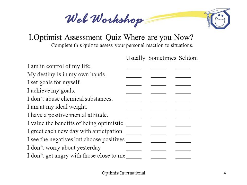 Web Workshop Optimist International4 I.Optimist Assessment Quiz Where are you Now? Complete this quiz to assess your personal reaction to situations.