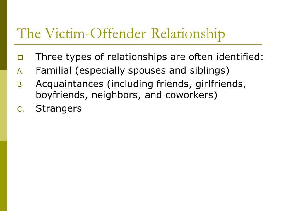The Victim-Offender Relationship  Three types of relationships are often identified: A.