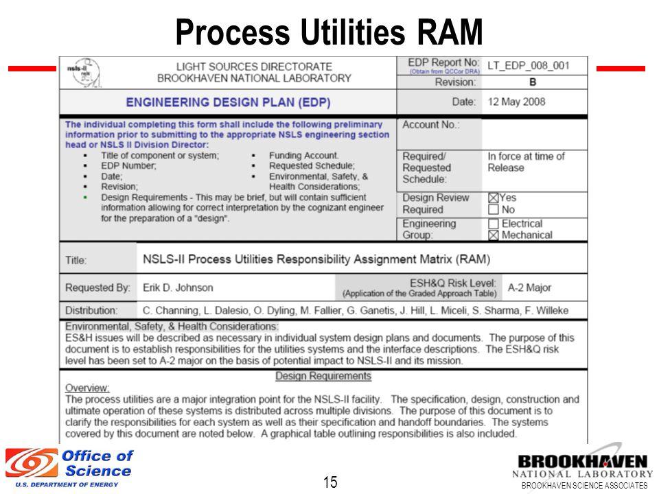 15 BROOKHAVEN SCIENCE ASSOCIATES Process Utilities RAM