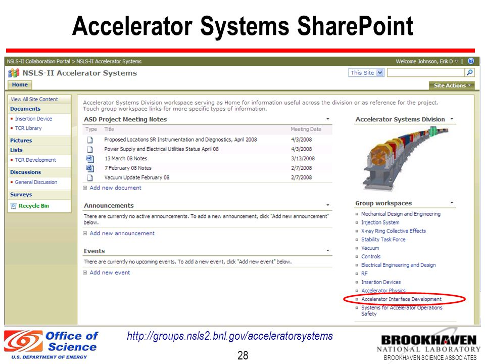 28 BROOKHAVEN SCIENCE ASSOCIATES Accelerator Systems SharePoint http://groups.nsls2.bnl.gov/acceleratorsystems