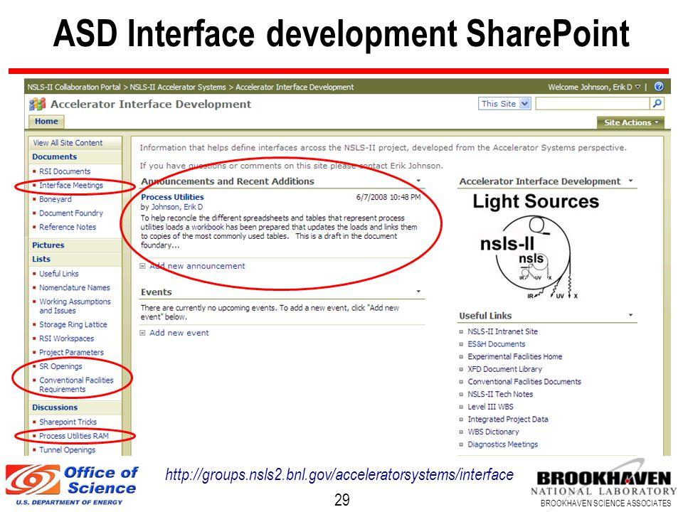 29 BROOKHAVEN SCIENCE ASSOCIATES ASD Interface development SharePoint http://groups.nsls2.bnl.gov/acceleratorsystems/interface