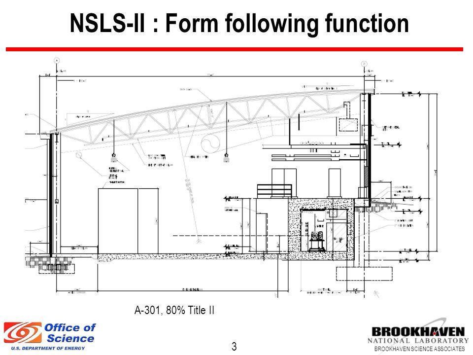 3 BROOKHAVEN SCIENCE ASSOCIATES NSLS-II : Form following function A-301, 80% Title II