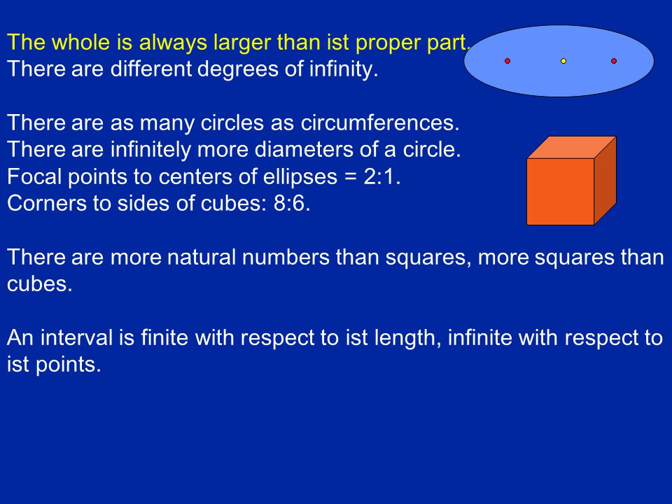 The whole is always larger than ist proper part. There are different degrees of infinity.