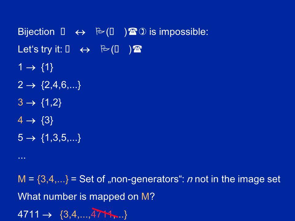 Bijection ô  P ( ô ) () is impossible: Let's try it: ô  P ( ô ) ( 1  {1} 2  {2,4,6,...} 3  {1,2} 4  {3} 5  {1,3,5,...}... M = {3,4,...} = Set o