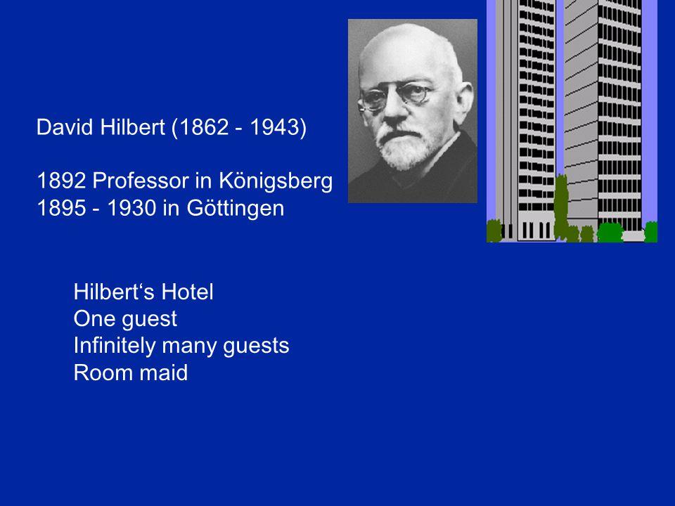 David Hilbert (1862 - 1943) 1892 Professor in Königsberg 1895 - 1930 in Göttingen Hilbert's Hotel One guest Infinitely many guests Room maid