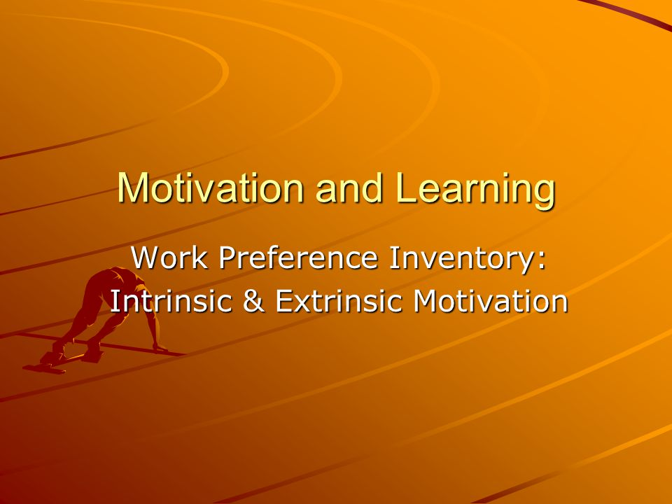 Motivation and Learning Work Preference Inventory: Intrinsic & Extrinsic Motivation