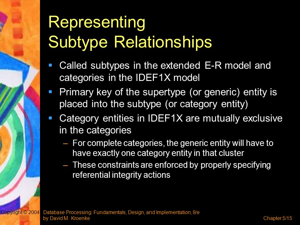 Database Processing: Fundamentals, Design, and Implementation, 9/e by David M. KroenkeChapter 5/15 Copyright © 2004 Representing Subtype Relationships