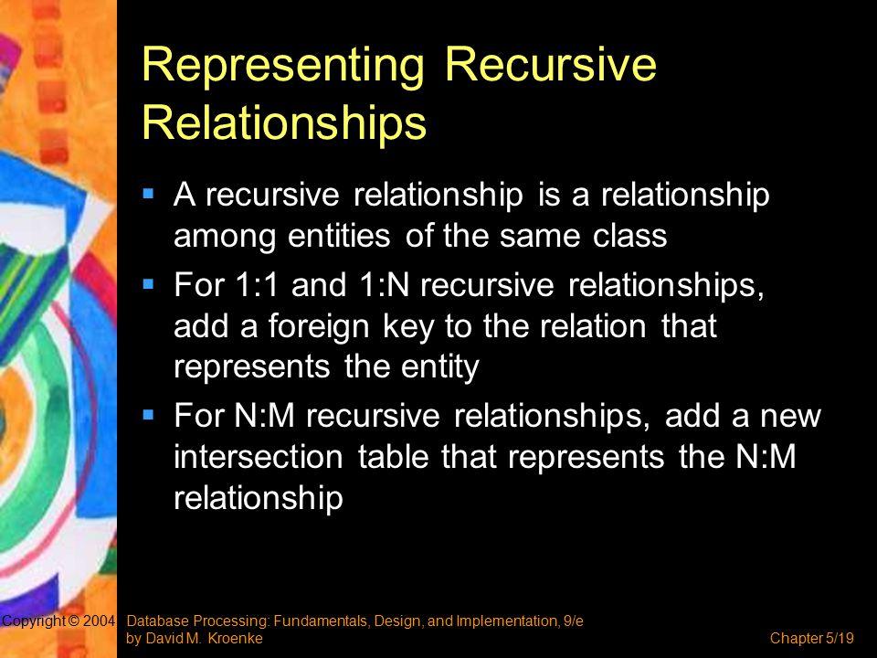 Database Processing: Fundamentals, Design, and Implementation, 9/e by David M. KroenkeChapter 5/19 Copyright © 2004 Representing Recursive Relationshi