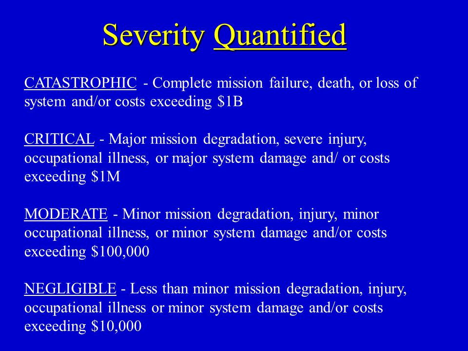 Severity Quantified CATASTROPHIC - Complete mission failure, death, or loss of system and/or costs exceeding $1B CRITICAL - Major mission degradation,