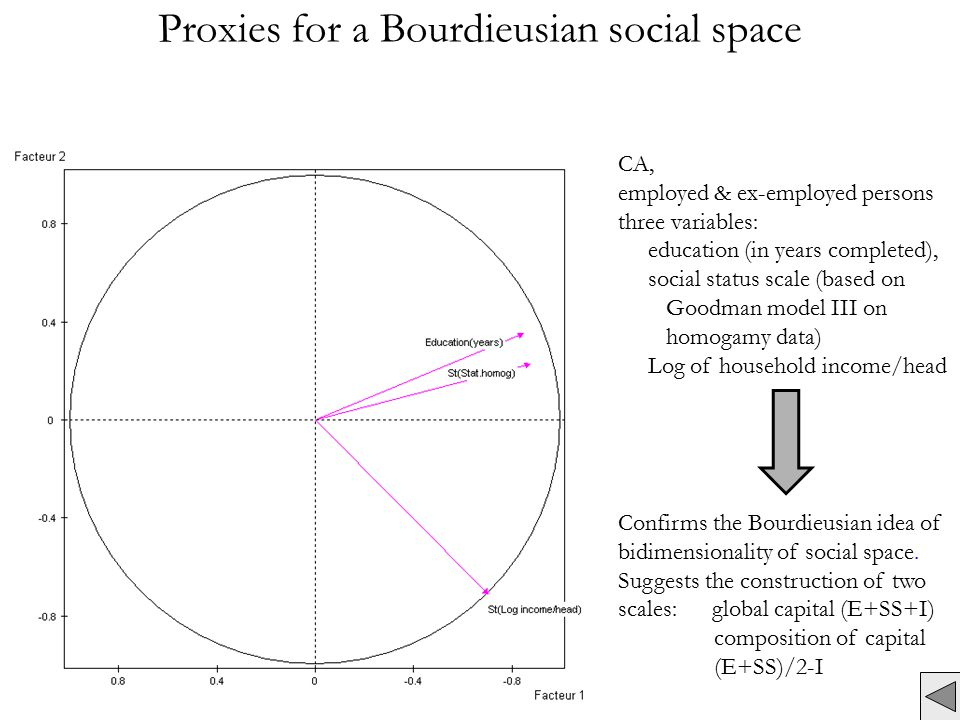 Proxies for a Bourdieusian social space CA, employed & ex-employed persons three variables: education (in years completed), social status scale (based on Goodman model III on homogamy data) Log of household income/head Confirms the Bourdieusian idea of bidimensionality of social space.