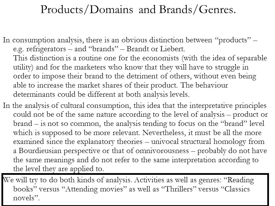 Products/Domains and Brands/Genres.