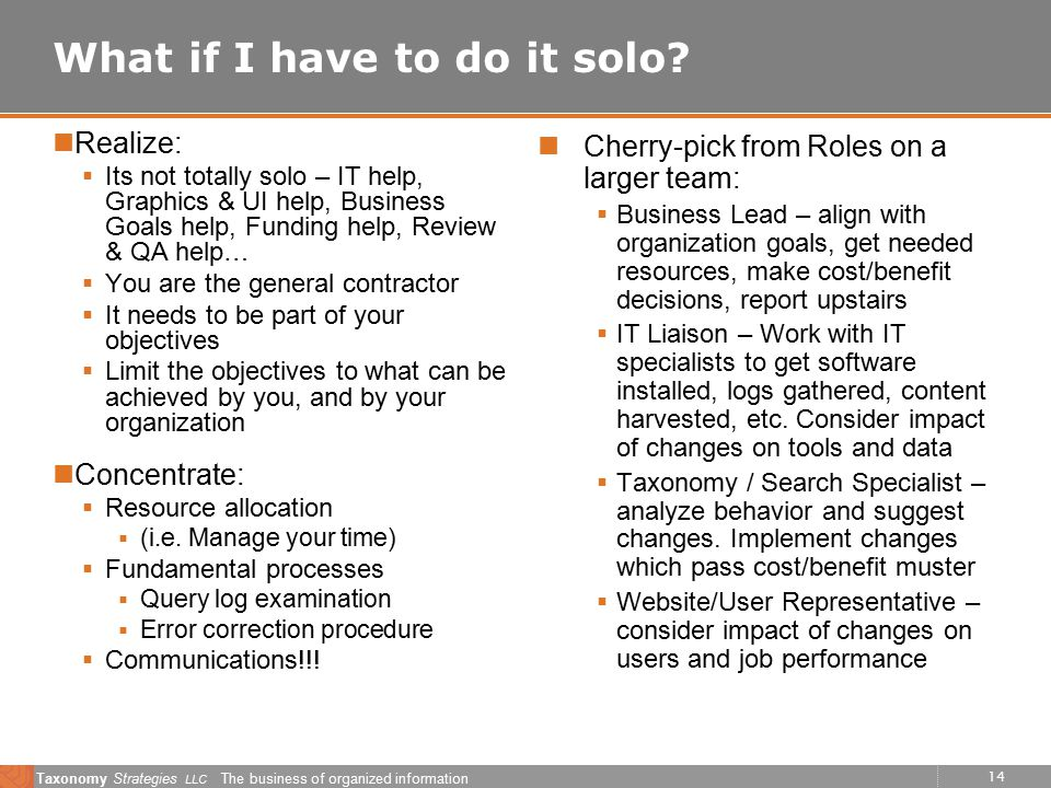 14 Taxonomy Strategies LLC The business of organized information What if I have to do it solo.