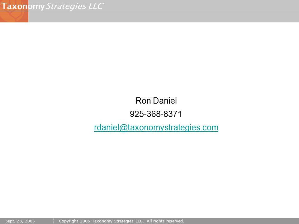 Strategies LLCTaxonomy Sept. 28, 2005Copyright 2005 Taxonomy Strategies LLC.