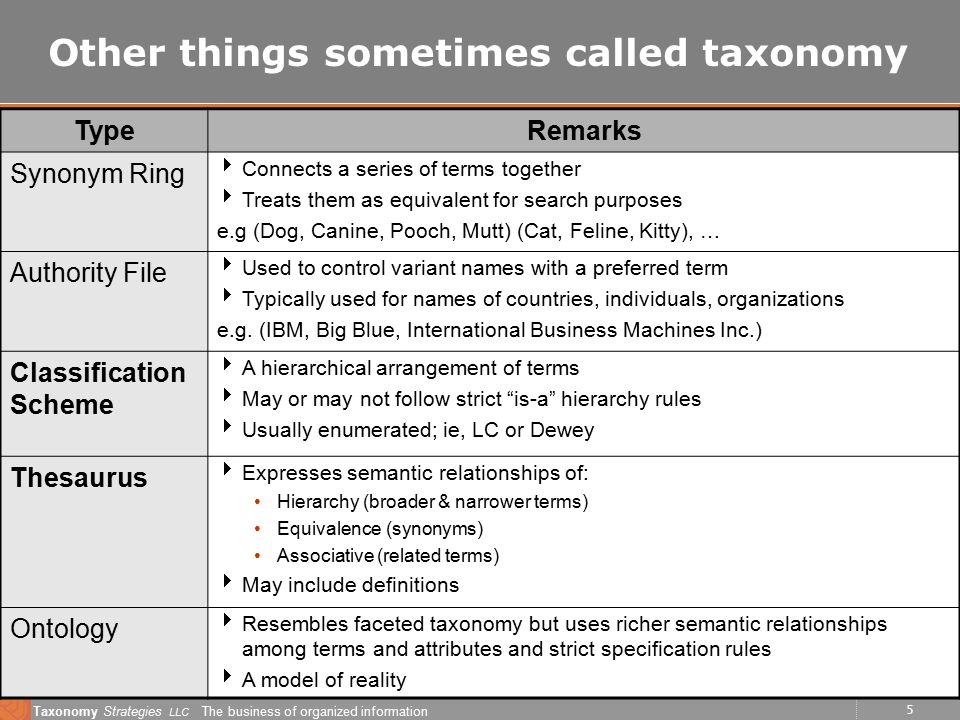 5 Taxonomy Strategies LLC The business of organized information Other things sometimes called taxonomy TypeRemarks Synonym Ring  Connects a series of terms together  Treats them as equivalent for search purposes e.g (Dog, Canine, Pooch, Mutt) (Cat, Feline, Kitty), … Authority File  Used to control variant names with a preferred term  Typically used for names of countries, individuals, organizations e.g.
