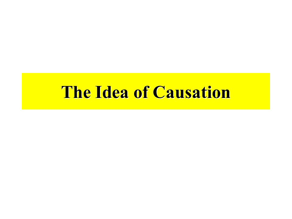 The Idea of Causation