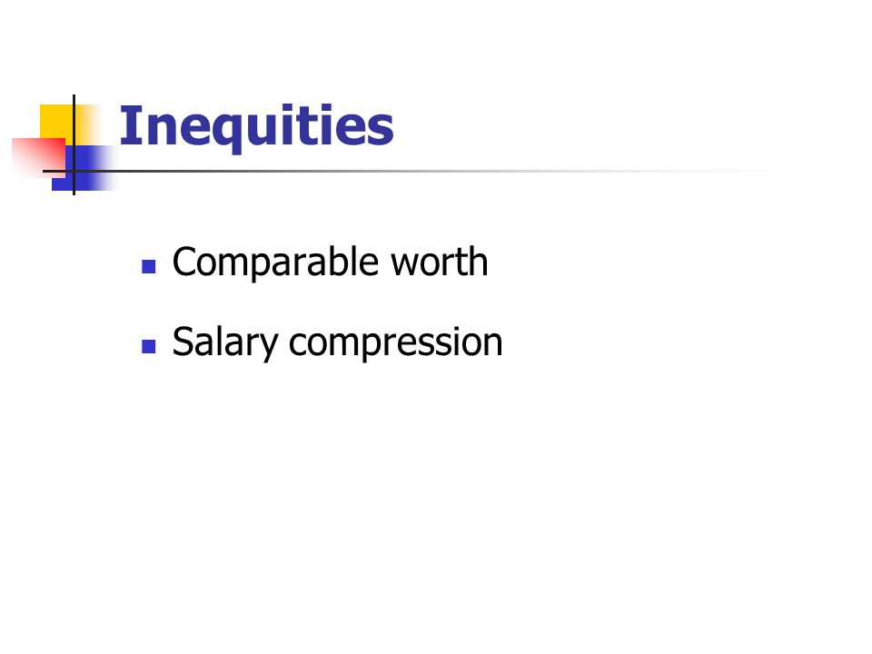 Inequities Comparable worth Salary compression