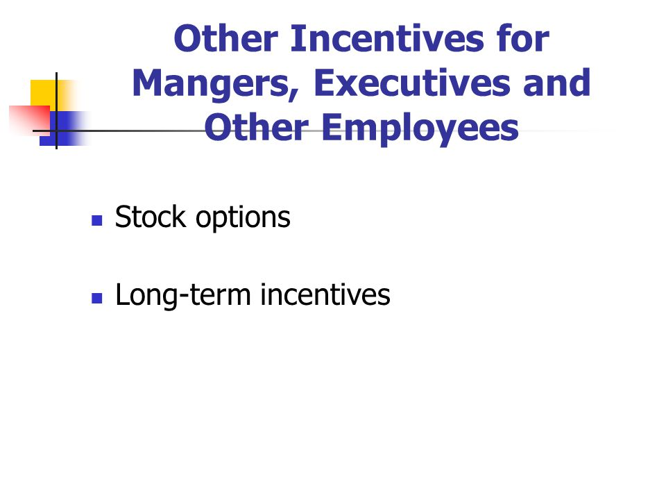 Other Incentives for Mangers, Executives and Other Employees Stock options Long-term incentives