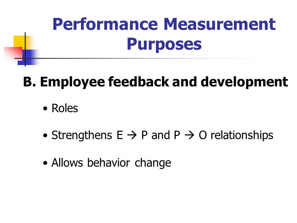 Performance Measurement Purposes B.