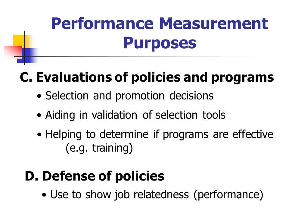 Performance Measurement Purposes C.