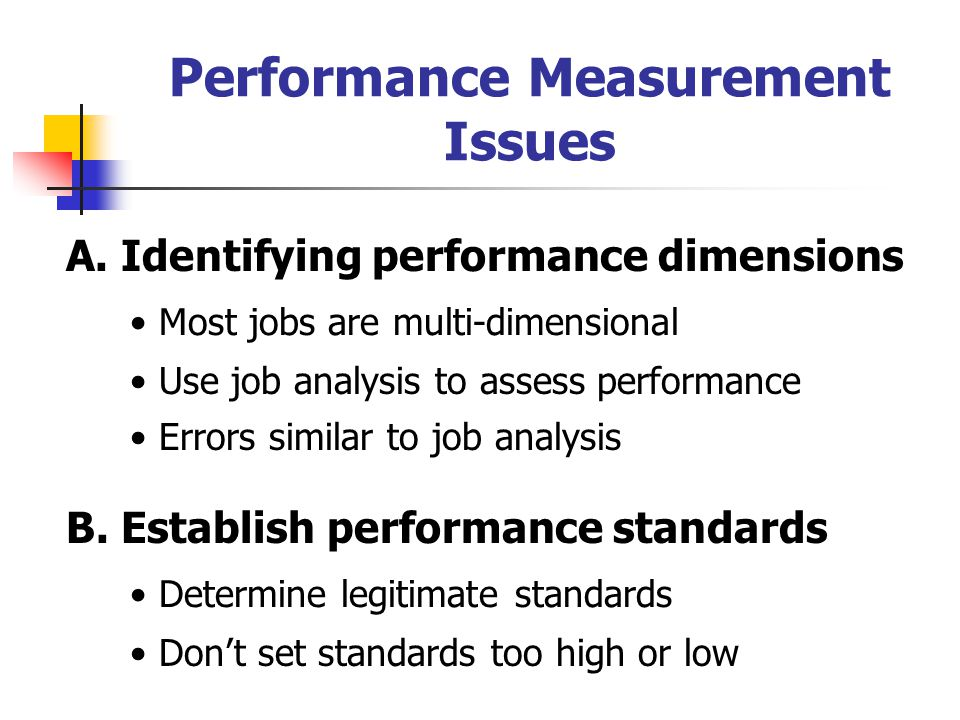 Performance Measurement Issues A.