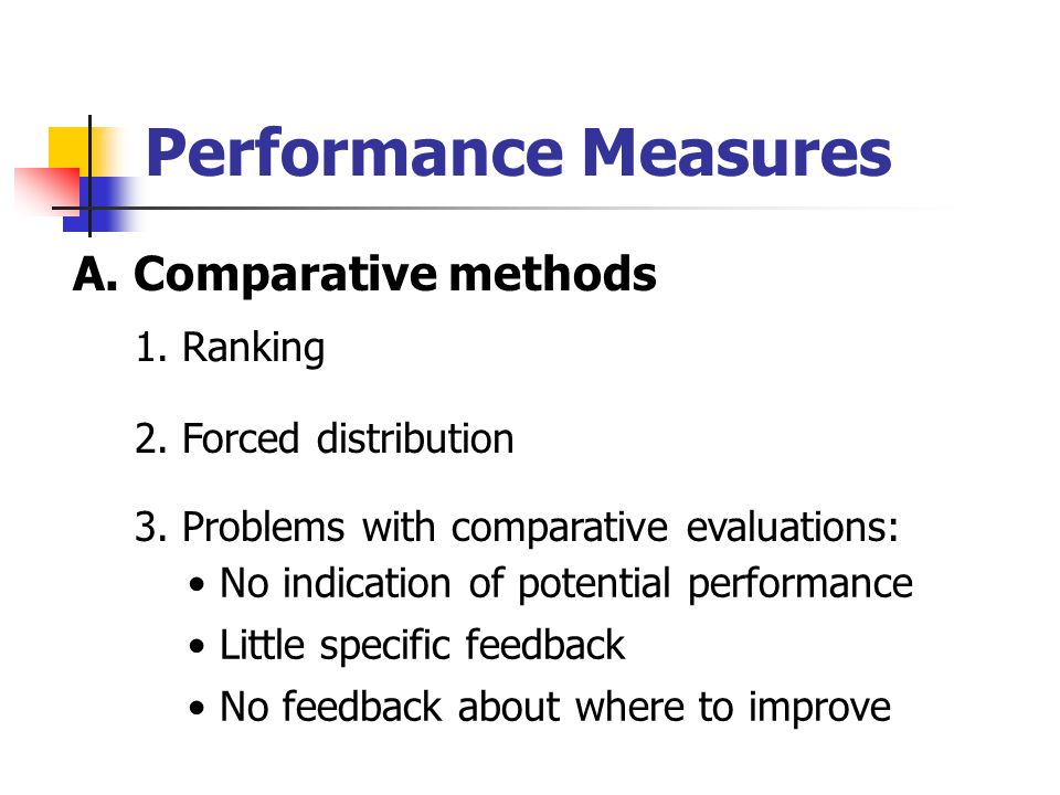 Performance Measures A. Comparative methods 1. Ranking 2. Forced distribution 3. Problems with comparative evaluations: No indication of potential per