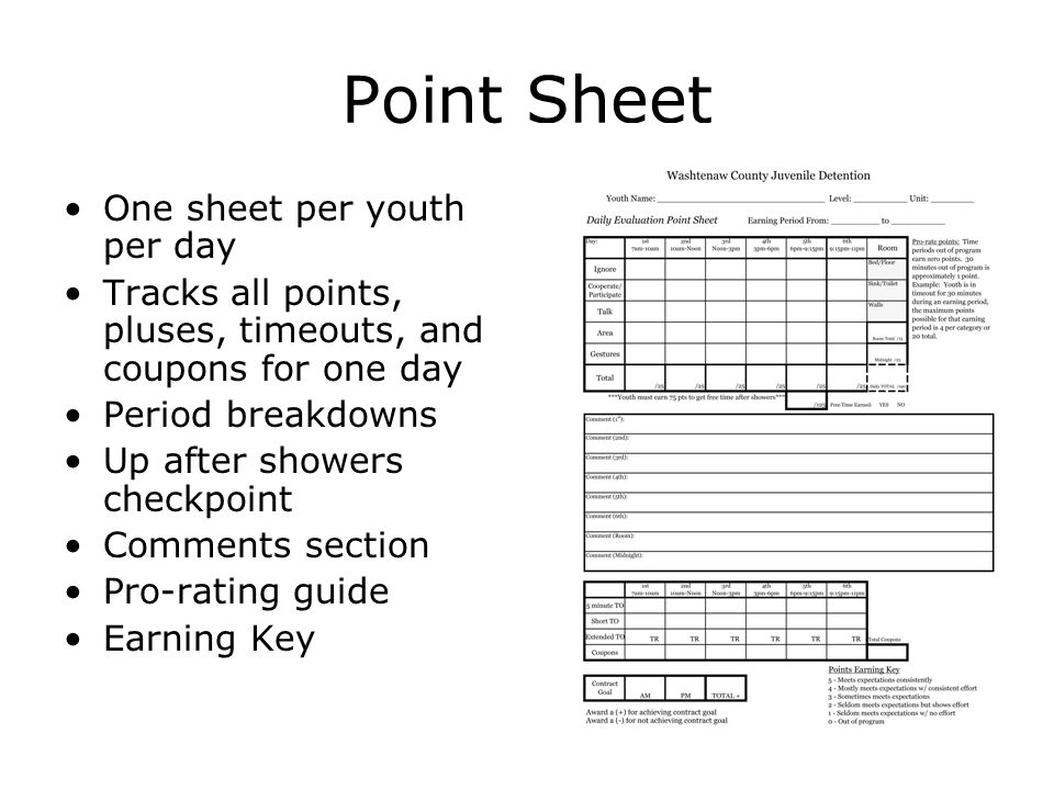 Point Sheet One sheet per youth per day Tracks all points, pluses, timeouts, and coupons for one day Period breakdowns Up after showers checkpoint Comments section Pro-rating guide Earning Key