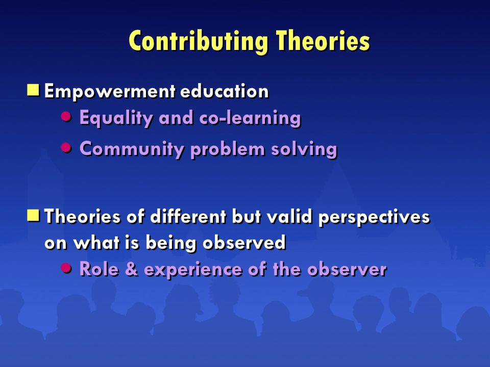 Equality and co-learning Community problem solving Role & experience of the observer Equality and co-learning Community problem solving Role & experience of the observer  Empowerment education  Theories of different but valid perspectives on what is being observed  Empowerment education  Theories of different but valid perspectives on what is being observed Contributing Theories