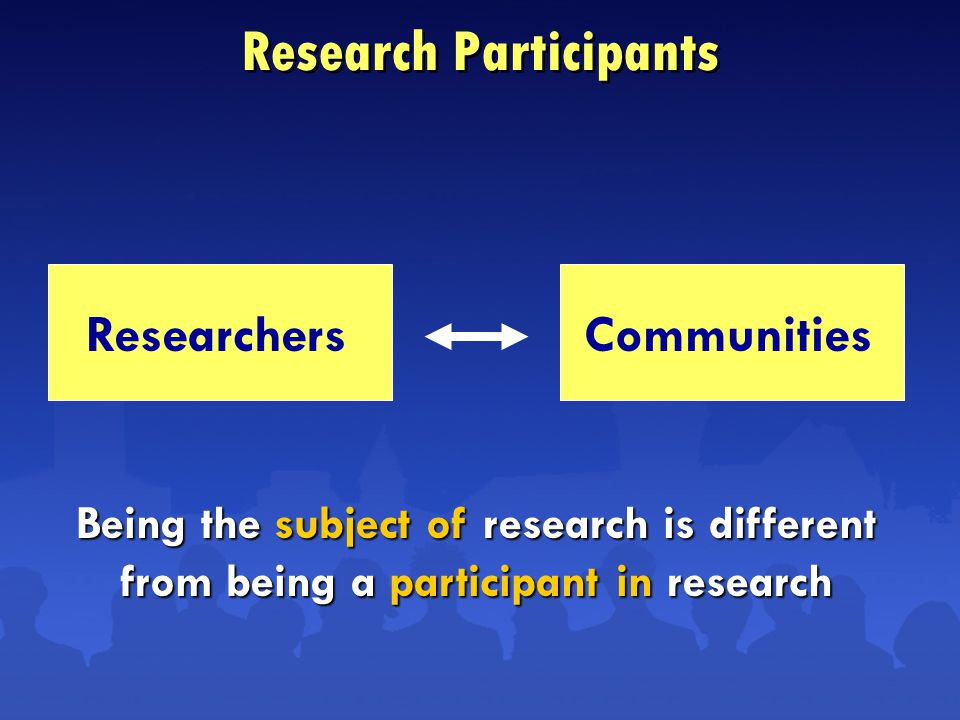 Research Participants ResearchersCommunities Being the subject of research is different from being a participant in research