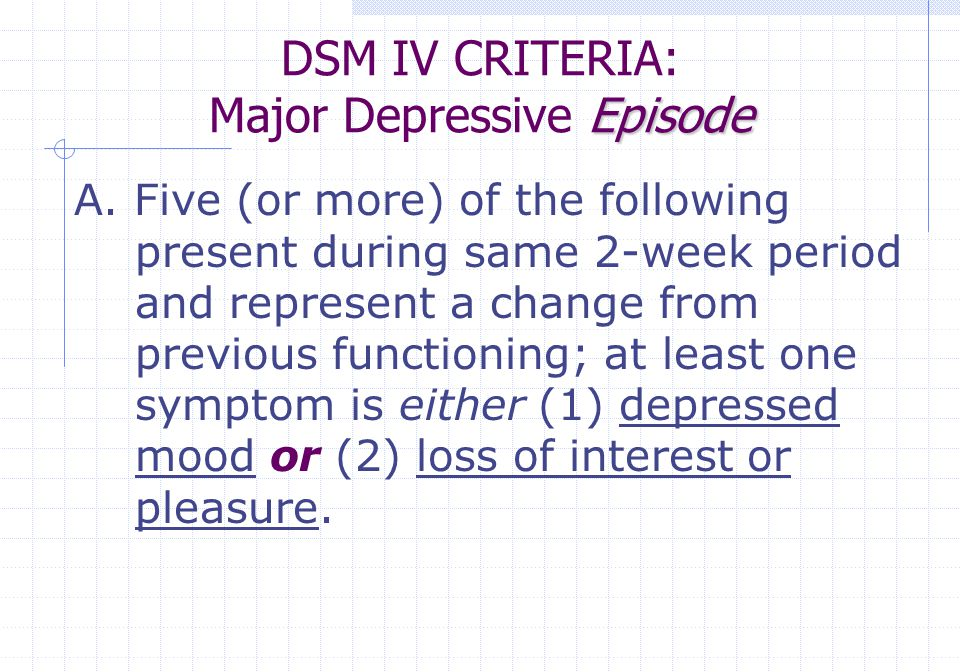Major Depressive Episode irritable mood (1) Depressed mood most of the day, nearly every day, as indicated by subjective report (e.g., feels sad or empty) or observation by others (e.g., appears tearful).