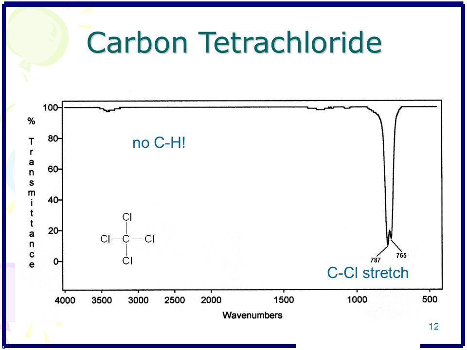 Carbon Tetrachloride no C-H! C-Cl stretch 12