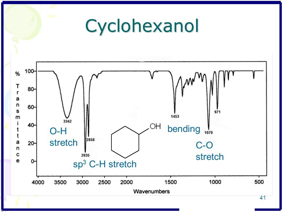 Cyclohexanol O-H stretch bending C-O stretch sp 3 C-H stretch 41