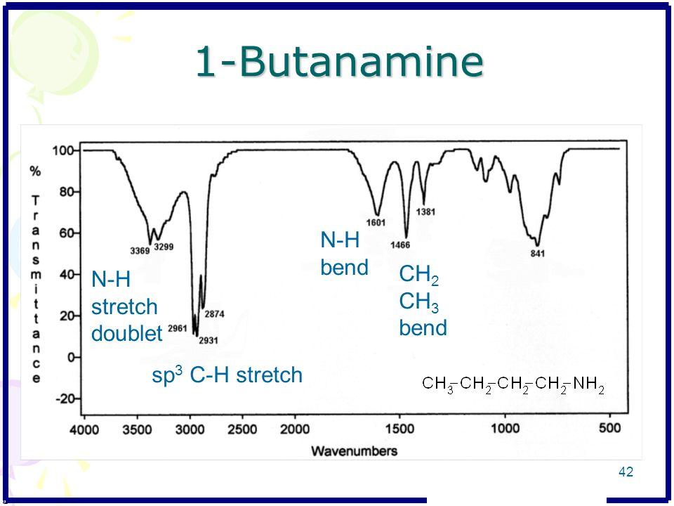 1-Butanamine N-H stretch doublet sp 3 C-H stretch N-H bend CH 2 CH 3 bend 42