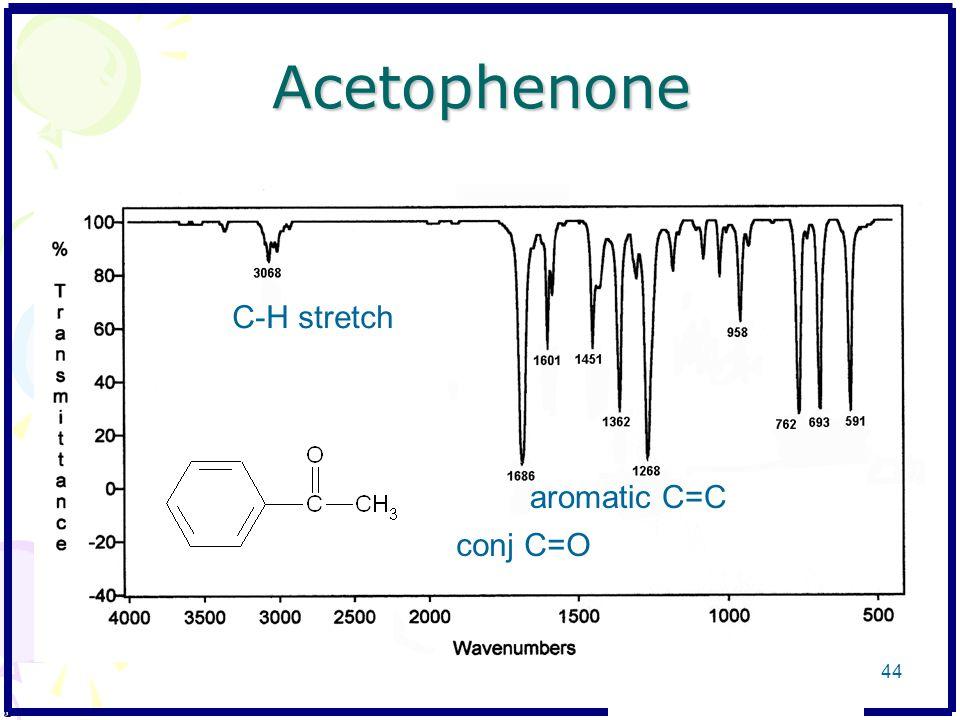 Acetophenone C-H stretch conj C=O aromatic C=C 44