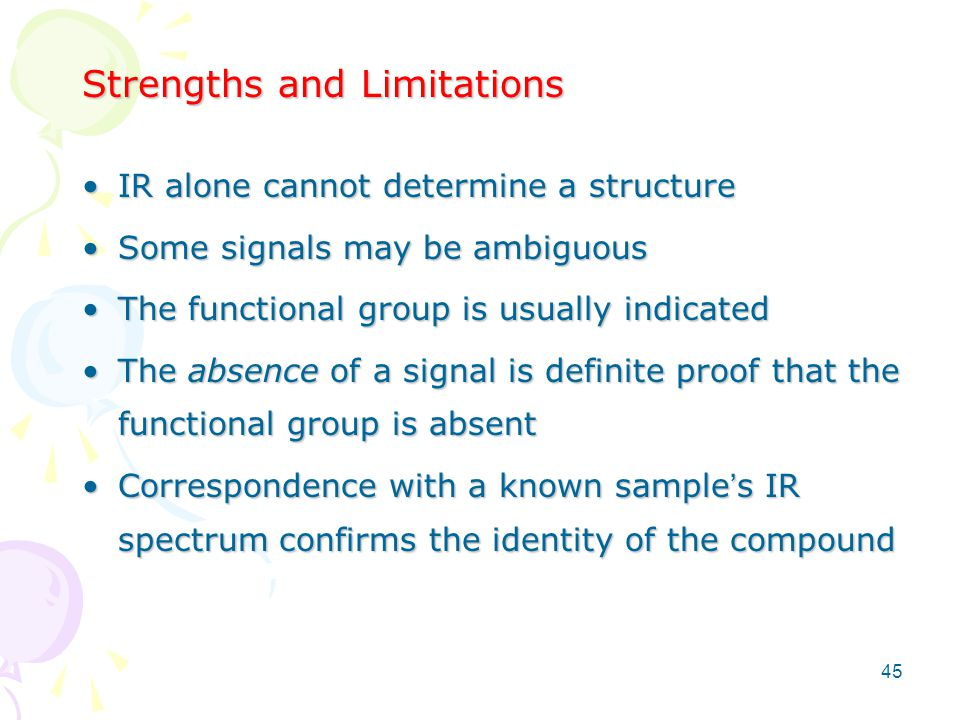 Strengths and Limitations IR alone cannot determine a structureIR alone cannot determine a structure Some signals may be ambiguousSome signals may be