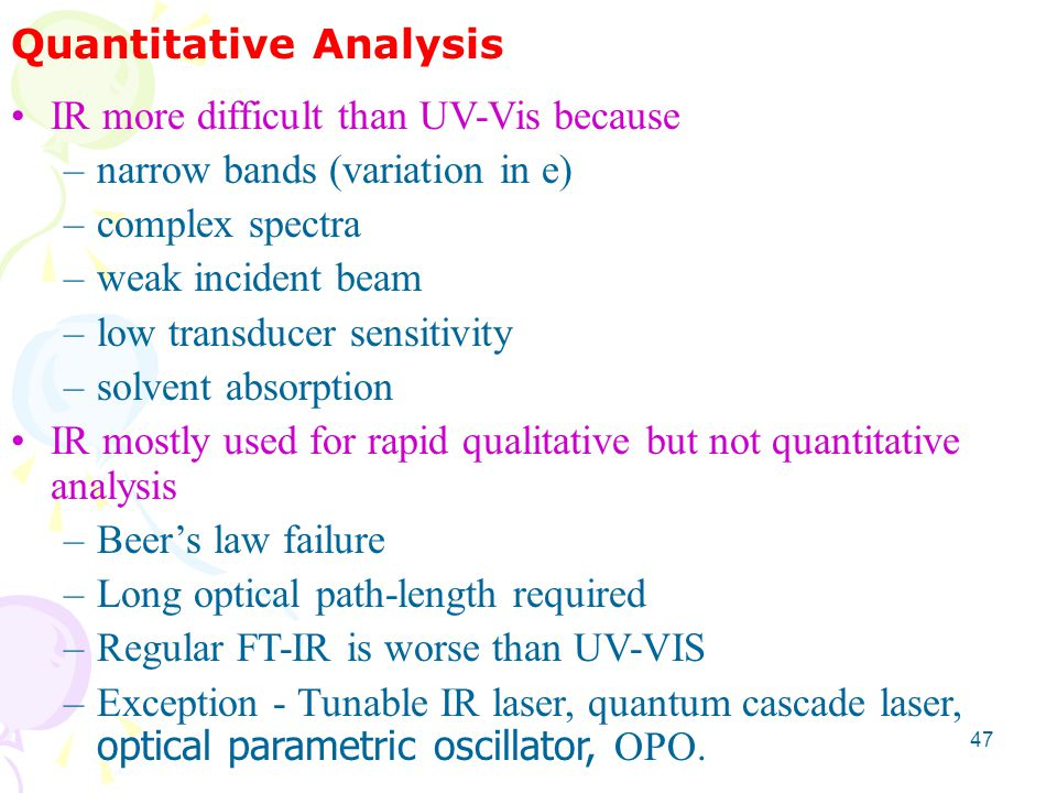 Quantitative Analysis IR more difficult than UV-Vis because –narrow bands (variation in e) –complex spectra –weak incident beam –low transducer sensit
