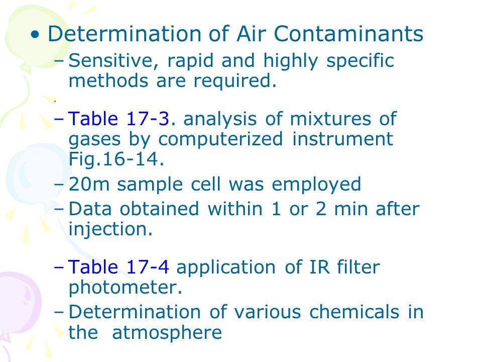 Determination of Air Contaminants –Sensitive, rapid and highly specific methods are required.. –Table 17-3. analysis of mixtures of gases by computeri