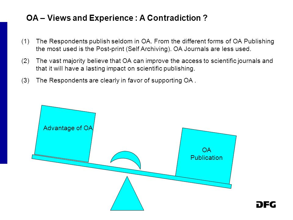 OA – Views and Experience : A Contradiction .