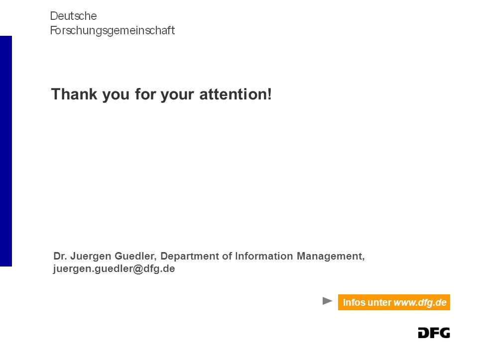 Thank you for your attention. Infos unter www.dfg.de Dr.