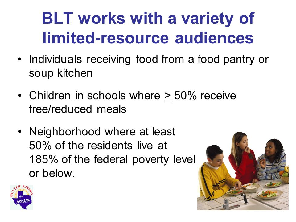 BLT works with a variety of limited-resource audiences Individuals receiving food from a food pantry or soup kitchen Children in schools where > 50% receive free/reduced meals Neighborhood where at least 50% of the residents live at 185% of the federal poverty level or below.