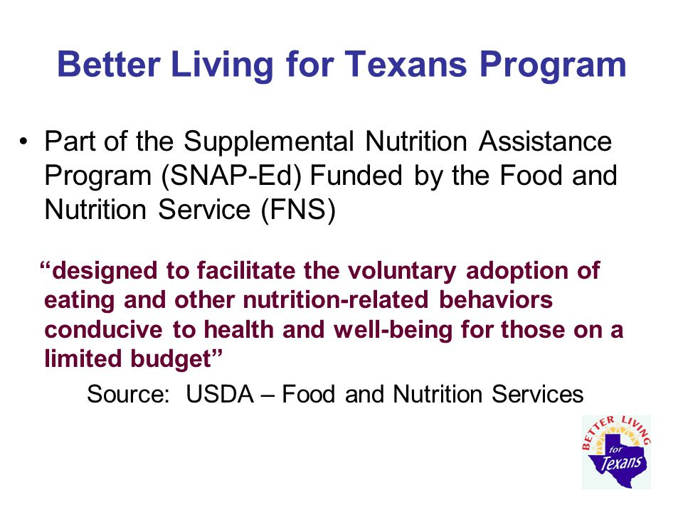 Implementing BLT Programs delivered by Agents & Assistants –Agents focus on adults and youth –Assistants focus primarily on adults –Volunteers participate as educators or facilitators Single education events 3-lesson series (targeted towards adults) –Back to Basics –3 Easy Bites –Get the Facts – MyPlate Food Group – Don't Get Bugged from Foodborne Illness
