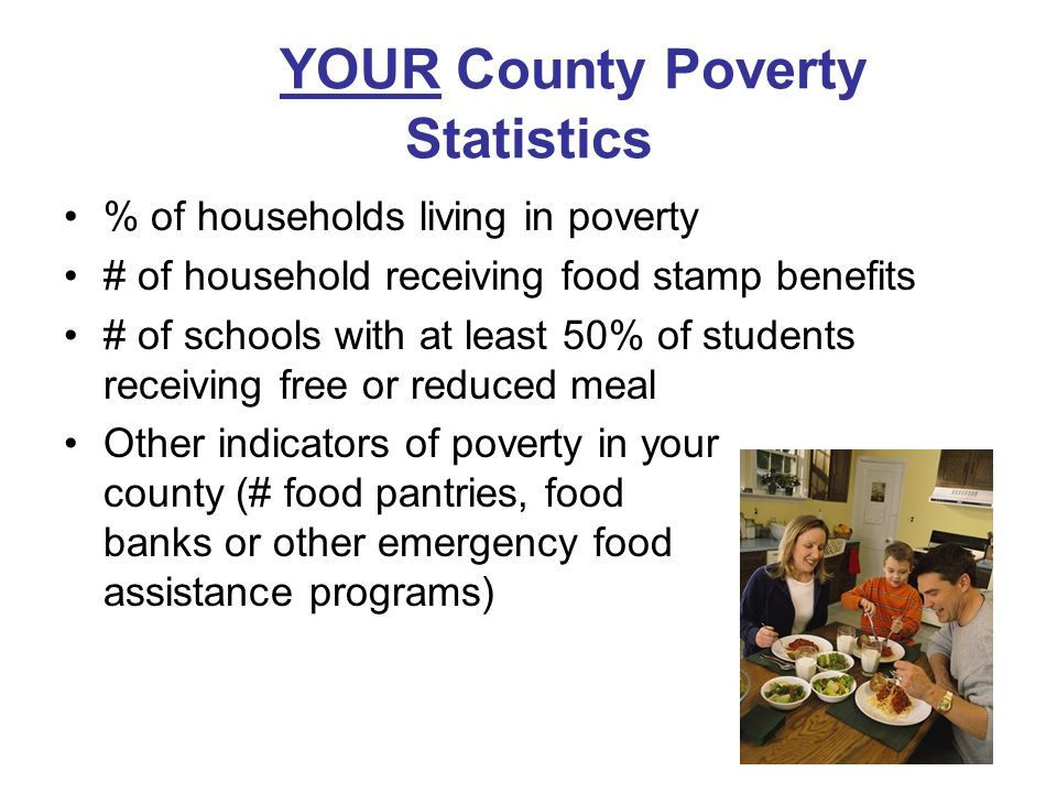 YOUR County Poverty Statistics % of households living in poverty # of household receiving food stamp benefits # of schools with at least 50% of students receiving free or reduced meal Other indicators of poverty in your county (# food pantries, food banks or other emergency food assistance programs)