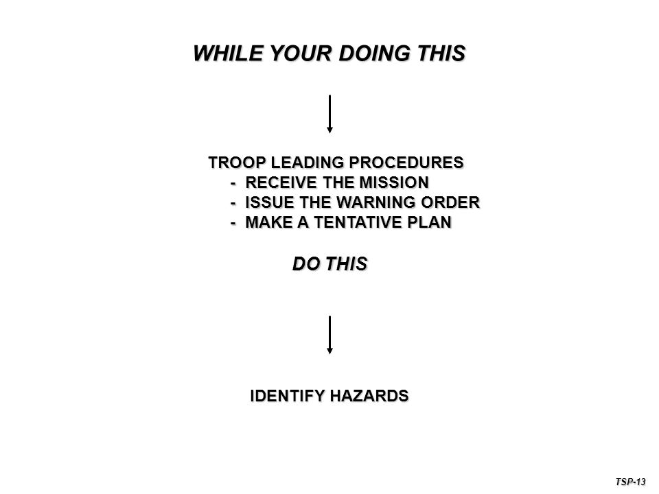 IDENTIFY HAZARDS TROOP LEADING PROCEDURES - RECEIVE THE MISSION - RECEIVE THE MISSION - ISSUE THE WARNING ORDER - ISSUE THE WARNING ORDER - MAKE A TENTATIVE PLAN - MAKE A TENTATIVE PLAN WHILE YOUR DOING THIS DO THIS TSP-13