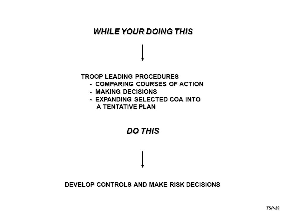 DEVELOP CONTROLS AND MAKE RISK DECISIONS TROOP LEADING PROCEDURES - COMPARING COURSES OF ACTION - COMPARING COURSES OF ACTION - MAKING DECISIONS - MAKING DECISIONS - EXPANDING SELECTED COA INTO - EXPANDING SELECTED COA INTO A TENTATIVE PLAN A TENTATIVE PLAN WHILE YOUR DOING THIS DO THIS TSP-25