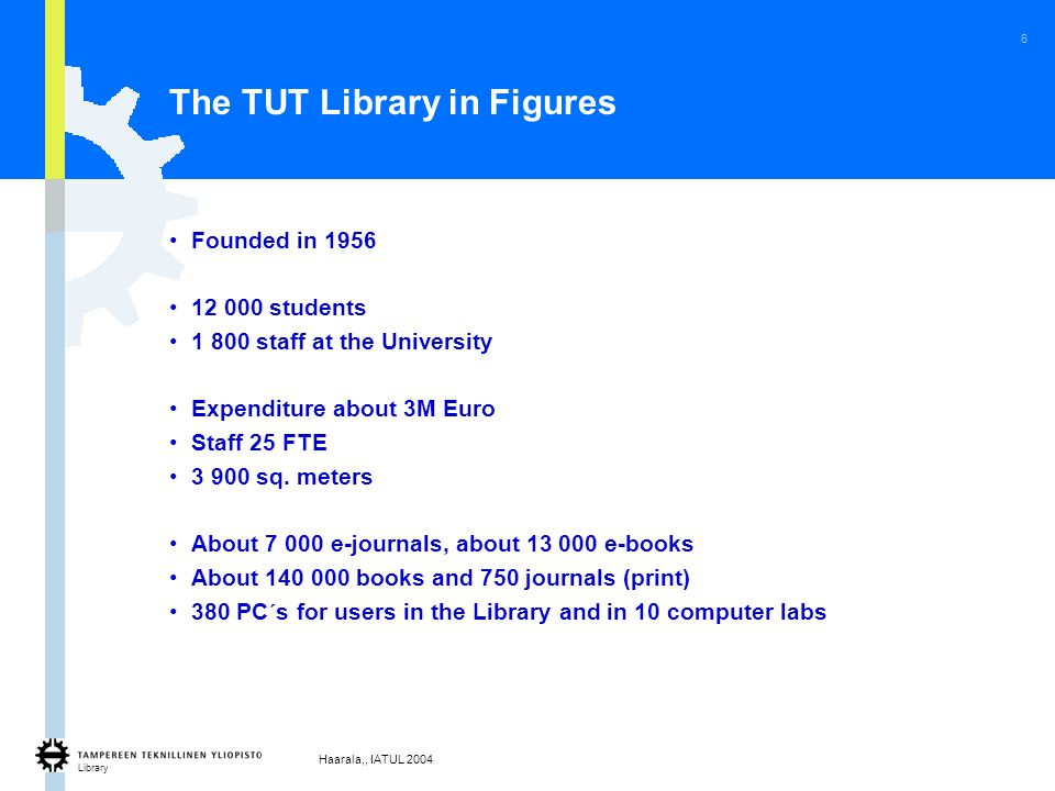 Library Haarala,, IATUL 2004 6 The TUT Library in Figures Founded in 1956 12 000 students 1 800 staff at the University Expenditure about 3M Euro Staff 25 FTE 3 900 sq.